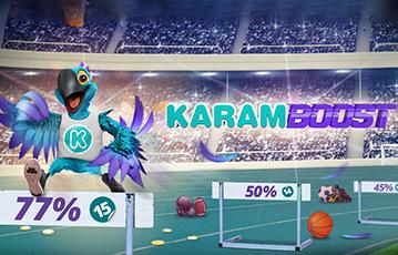 Die besten Online Sportwetten bei karamba Illustration Papagei 3D beim Hürdenlauf karam boost