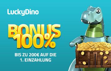 Die besten Online Casinos bei luckyDino Bonus 100 Prozent call to action Illustration Dinosaurier Schatzkiste voller goldener Münzen