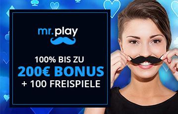 Die besten Online Casinos bei mr. play call to action 200 Euro Bonus und 100 Freispiele close up Frau hält Bart über Oberlippe