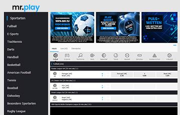 Die besten Online Casinos bei mr. play screenshot webseite Sportarten Übersicht