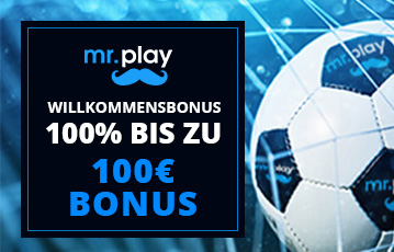 Die besten Online Casinos bei mr. play call to action 100 Euro Bonus Close up Fussball im Netz