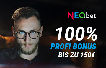 Die besten Online Sportwetten bei neobet Close-up Gesicht junger Mann mit Brille call to action 100 Prozent Profi Bonus
