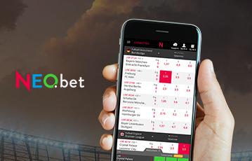 Die besten Online Sportwetten bei neobet mobile App Close-up Hand hält smartphone