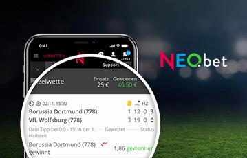 Die besten Online Sportwetten bei neobet smartphone Details Übersicht Fussballspiele