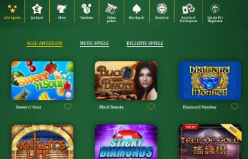 Die besten Online Casino Spiele bei onlinecasino die besten deutschen Spiele screenshot Spiele Übersicht