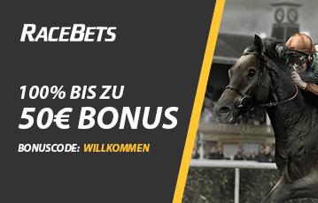Die besten Online Sportwetten bei racebets call to action Bonus 50 Euro close up Rennpferd Kopf