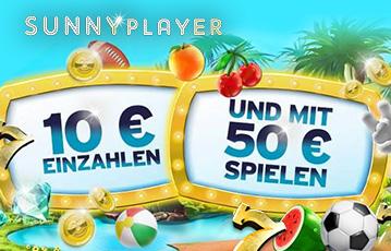 Die besten Online Casino Spiele bei sunnyplayer call to action 10 Euro einzahlen mit 50 Euro spielen Illustration Palmen Pool Melone Fussball