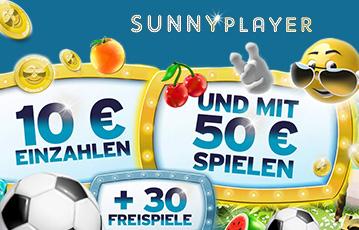 Die besten Online Casino Spiele bei sunnyplayer 3D smiley mit Sonnenbrille call to action Fussball