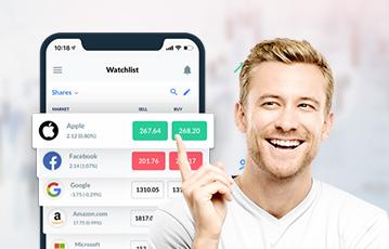 lächelnder Mann Zeigefinger nach oben smartphone screen watchlist