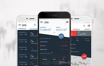drei smartphones screen CFD broker Übersicht