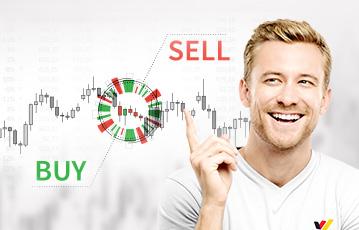 lächelnder Mann Zeigefinger nach oben Grafik buy sell Aktien