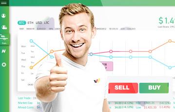 lächelnder Mann thump up im Hintergrund Grafik Diagramm sell buy button