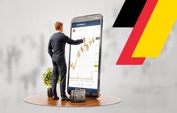 Illustration 3D smartphone Mann im Anzug zeigt auf smartphone Aktentasche Streifen schwarz rot gold