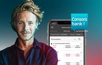 Mann mit Hemd close up smartphone screen Consors Bank