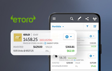 etoro smartphone close up handelsplattform gold