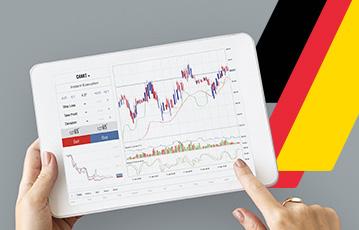 tablet in Händen Finger zeigt auf screen Diagramm Finanzübersicht 3 Streifen schwarz rot gold