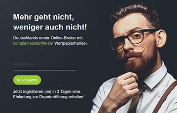 junger Mann mit Brille und Bart wording mehr geht nicht, weniger auch nicht just trade broker