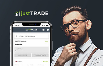 junger Mann mit Brille und Bart smartphone webseite mobil just trade