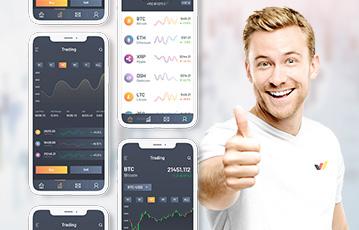 drei smartphones junger Mann lächelt thumb up