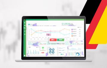 laptop webseite broker vergleich Diagramme Streifen schwarz gold rot