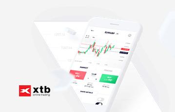 xtb broker smartphone weiß mobile webseite mit Diagrammen